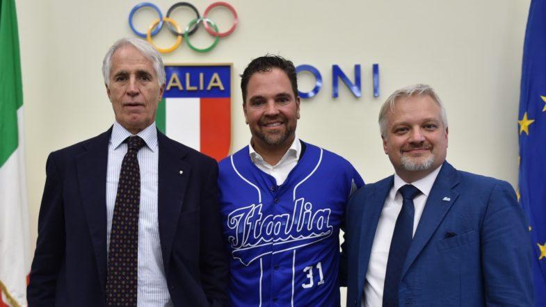 Da sinistra: Giovanni Malagò, Mike Piazza, Andrea Marcon